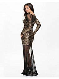 Te Amo Sequin Mesh Panel Fishtail Maxi Dress