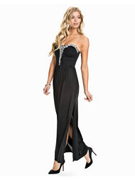 Te Amo Slinky Diamante Trim Maxi Dress