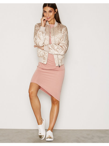 Quilted Shiny Bomber Jacket