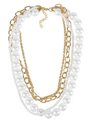 NLY Accessories Chain Pearl Necklace