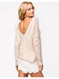 Puserot, Deep Back Fluffy Sweater, Jeane Blush - NELLY.COM