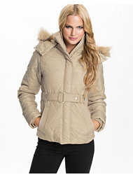Jeane Blush Short Parka with belt