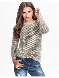 Jeane Blush Knitted Fishnet sweater