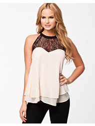 Lipsy Lace Trim Chiffon Top
