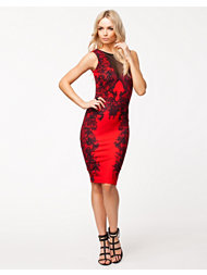 Lipsy Lace Mesh Front Dress