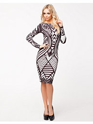 Lipsy Printed Bodycon L/S Dress