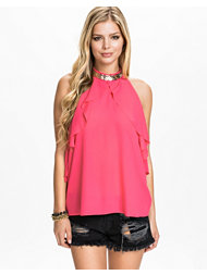 Lipsy Pink Drape With Necklace Top