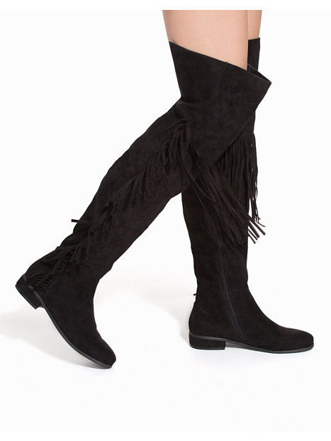 thigh high fringe boot nly shoes black boots shoes