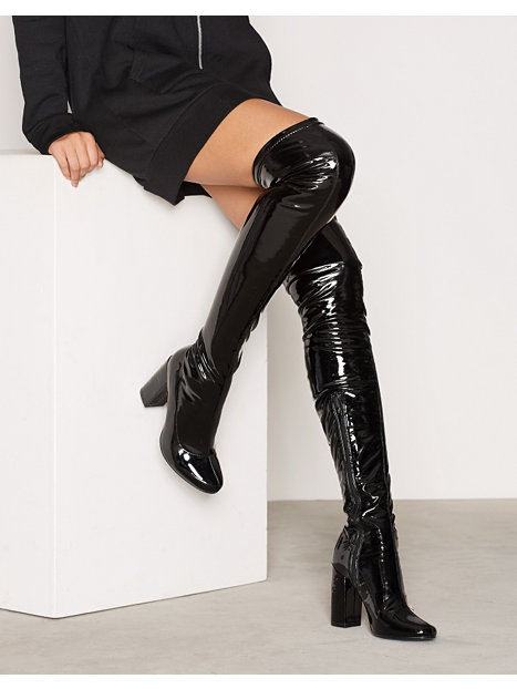 patent thigh high boot nly shoes black boots shoes