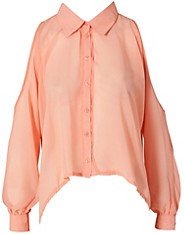 Rare Fashion Cut Out Sleeve Chiffon Shirt Rare