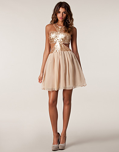 FEESTJURKEN - RARE LONDON / SEQUIN CUT OUT BODICE DRESS - NELLY.COM