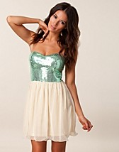 SEQUIN AQUA BABYDOLL DRESS