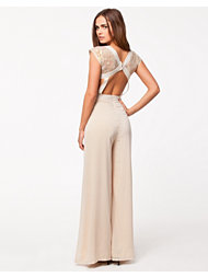 Rare London Metallic Lace Open Back Jumpsuit