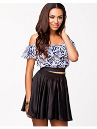 Rare London Floral Frill Off Shoulder Crop Top