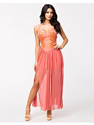 Rare London Embellished Mesh Front Maxi Dress