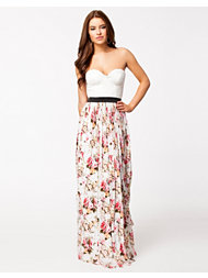 Rare London Bustier Sweetheart Lace Floral Maxi Dress
