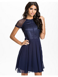 Little Mistress Lace Detail Cap Sleeve Fit&Flare Dress