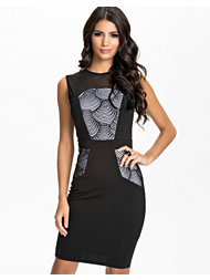 Little Mistress Spiral Print Panel Detail Bodycon Dress
