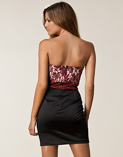 PARTY DRESSES - ELISE RYAN / SATIN LACE BANDEAU DRESS - NELLY.COM