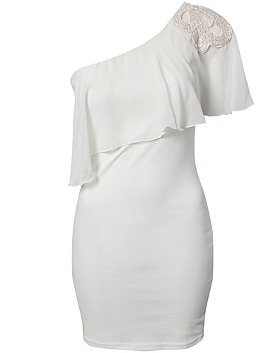 FESTKJOLER - ELISE RYAN / PONTI BODYCON CHIFFON CAPE DRESS - NELLY.COM