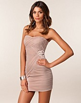 SATIN BODYCON TRIM MESH DRESS