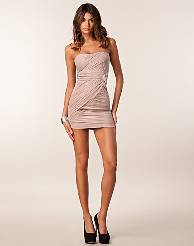 PARTY DRESSES - ELISE RYAN / SATIN BODYCON TRIM MESH DRESS - NELLY.COM