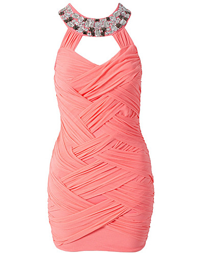 FESTKJOLER - ELISE RYAN / TWISTED MESH JEWEL NECK DRESS - NELLY.COM
