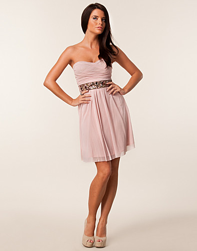 FESTKLÄNNINGAR - ELISE RYAN / MESH STRAPLESS JEWEL WAIST TRIM DRESS - NELLY.COM