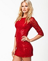 SLEEVE LACE SEQUIN DRESS