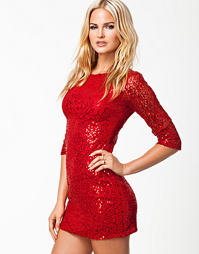 FESTKJOLER - ELISE RYAN / SLEEVE LACE SEQUIN DRESS - NELLY.COM