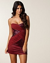 SEQUIN MESH BANDEAU DRESS