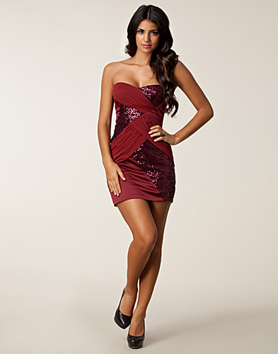 PARTY DRESSES - ELISE RYAN / SEQUIN MESH BANDEAU DRESS - NELLY.COM