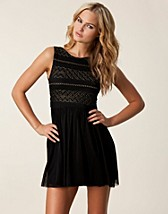LACE OPEN BACK MESH DRESS