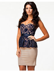 Elise Ryan Peplum Lace Pencil Dress