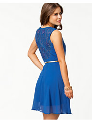 Elise Ryan Skater Chiffon Lace Back Dress
