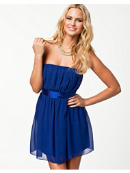 Elise Ryan Tie Back Rouched Bandeau Dress