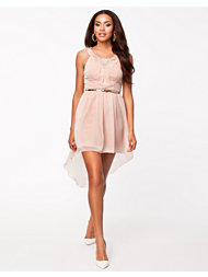 Elise Ryan Flower Neckline Belted Dress