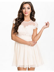 Elise Ryan Chiffon Lace Skater Dress