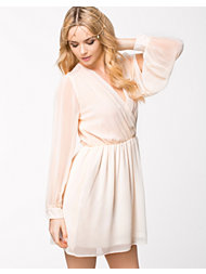 Elise Ryan L/S Mock Wrap Front Chiffon Dress