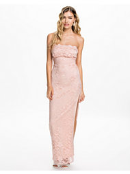 Elise Ryan Bandeau Scalloped Lace Maxi Dress