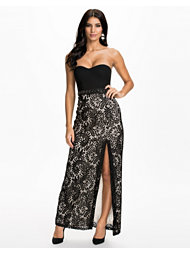 Elise Ryan Lace Skirt Bandaeu Split Maxi Dress