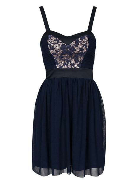 Contrast Lace Bandeau Dress