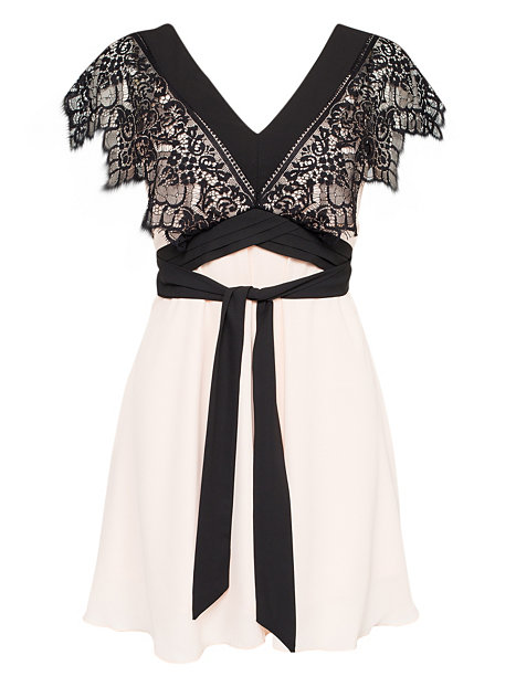 Contrast V-Neck Lace Chiffon Dress