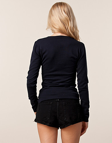 PUSEROT - ONLY BASIC / TAFFY LONG KNIT V-NECK - NELLY.COM