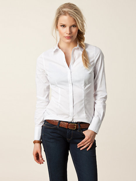 Rockish Fitted Shirt Only White Blouses Shirts