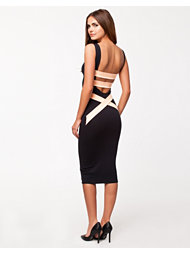 Quontum Plunge Black Midi Dress