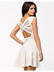 Quontum Wrap Strap Back Mesh Skater Dress