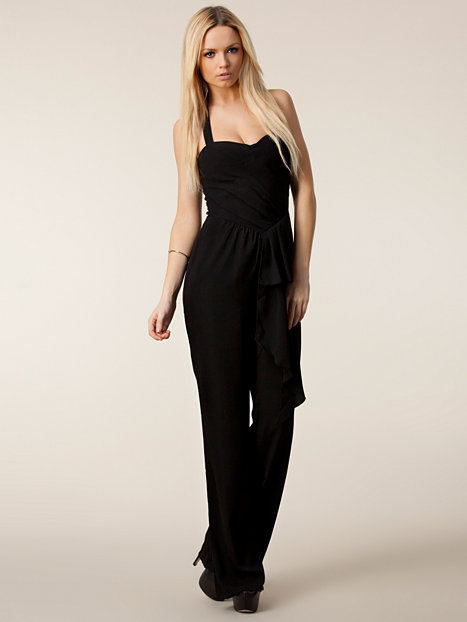 wide leg jumper house of dereon schwarz jumpsuit. Black Bedroom Furniture Sets. Home Design Ideas