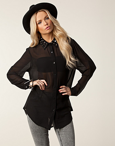BLOUSES & SHIRTS - PIPPI LYNN / TORIN STUDED COLLAR SHIRT - NELLY.COM