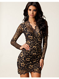 Lili London Luxury Wrap Front Lace Dress